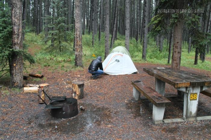 camping banff sous la pluie